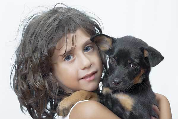 little girl with rottweiler puppy