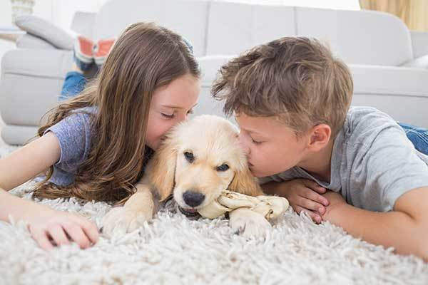 2 kids kissing a cute puppy